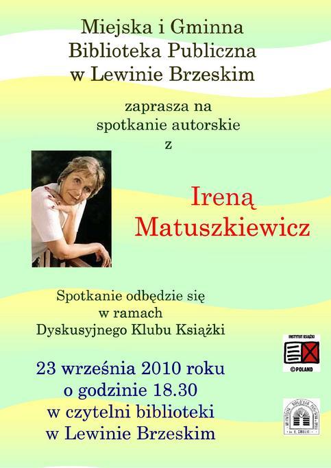 Plakat - spotkanie z Ireną Matuszkiewicz