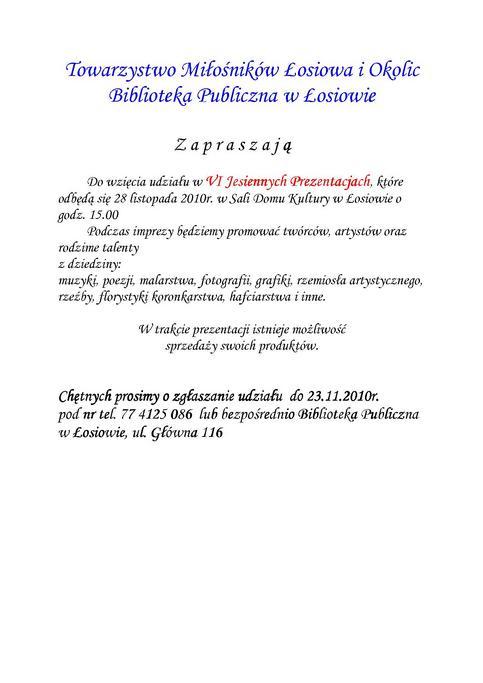 Ogłoszenie - VI Jesienne Prezentacje w Łosiowie