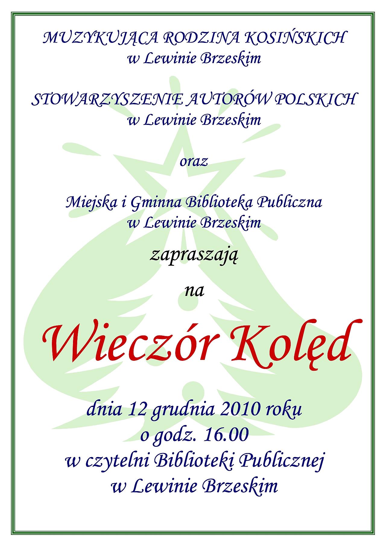 Wieczór Kolęd 2010 plakat A3