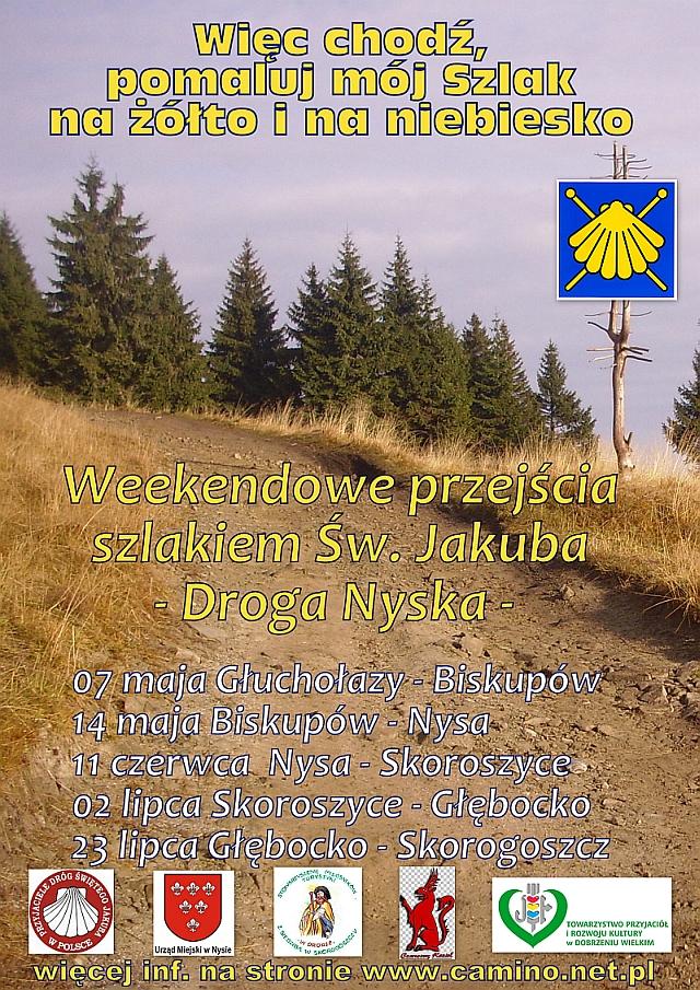 plakat  - Weekendowe przejścia szlakiem św. Jakuba - Droga Nyska