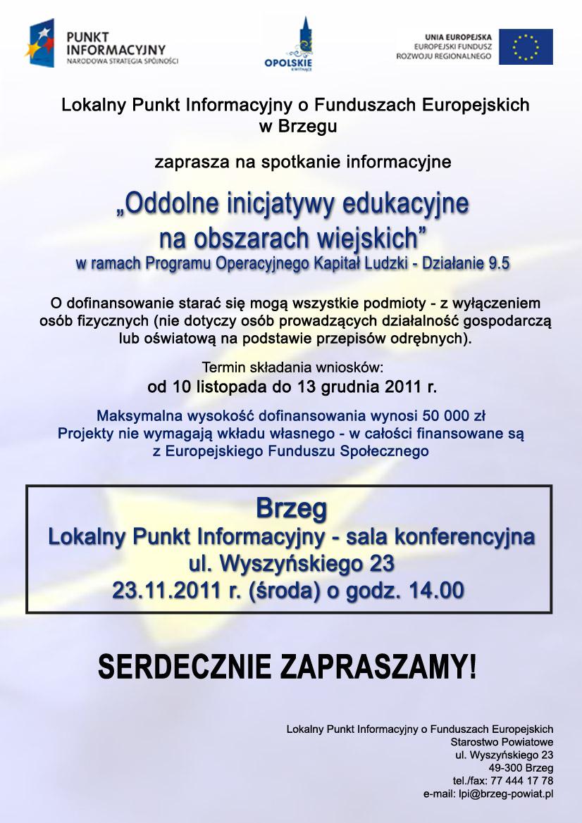 Spotkanie informacyjne - plakat