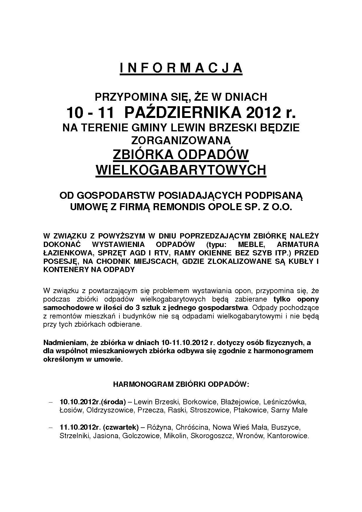 INFORMACJA o zbiórce wielkogabarytów PAŹDZIERNIK 2012
