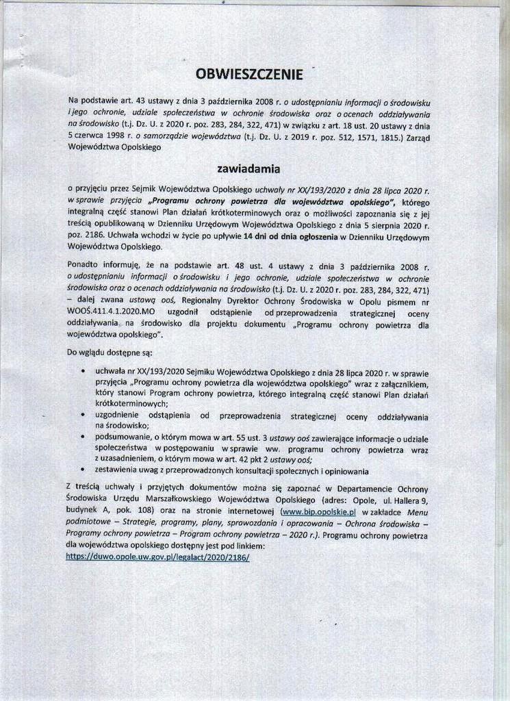 Obwieszczenie dot. przyjęcia uchwały Programu Ochrony Powietrza dla woj. opolskiego 2020.jpeg