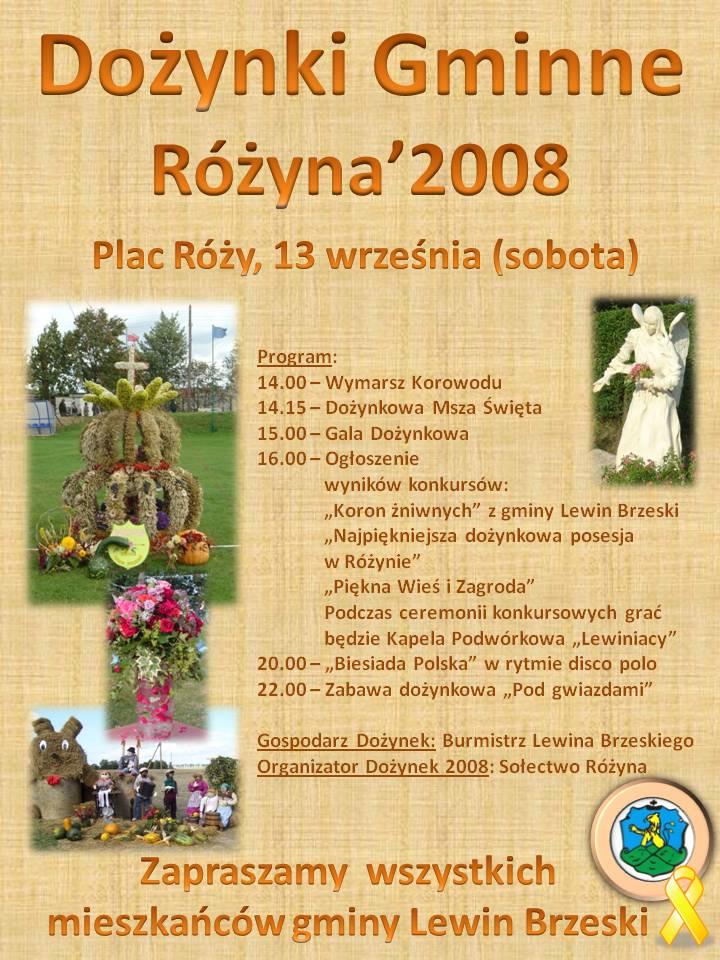 Dożynki Gminne - Różyna 2008 - Plakat/L.Pakuła