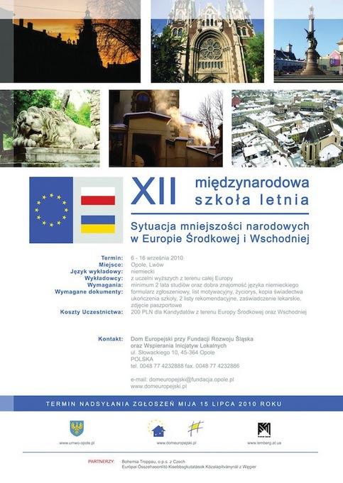 plakat XII Edycja Międzynarodowej Szkoły Letniej