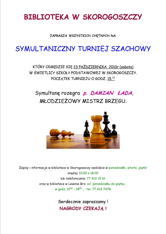 plakat - turniej szachowy w Skorogoszczy