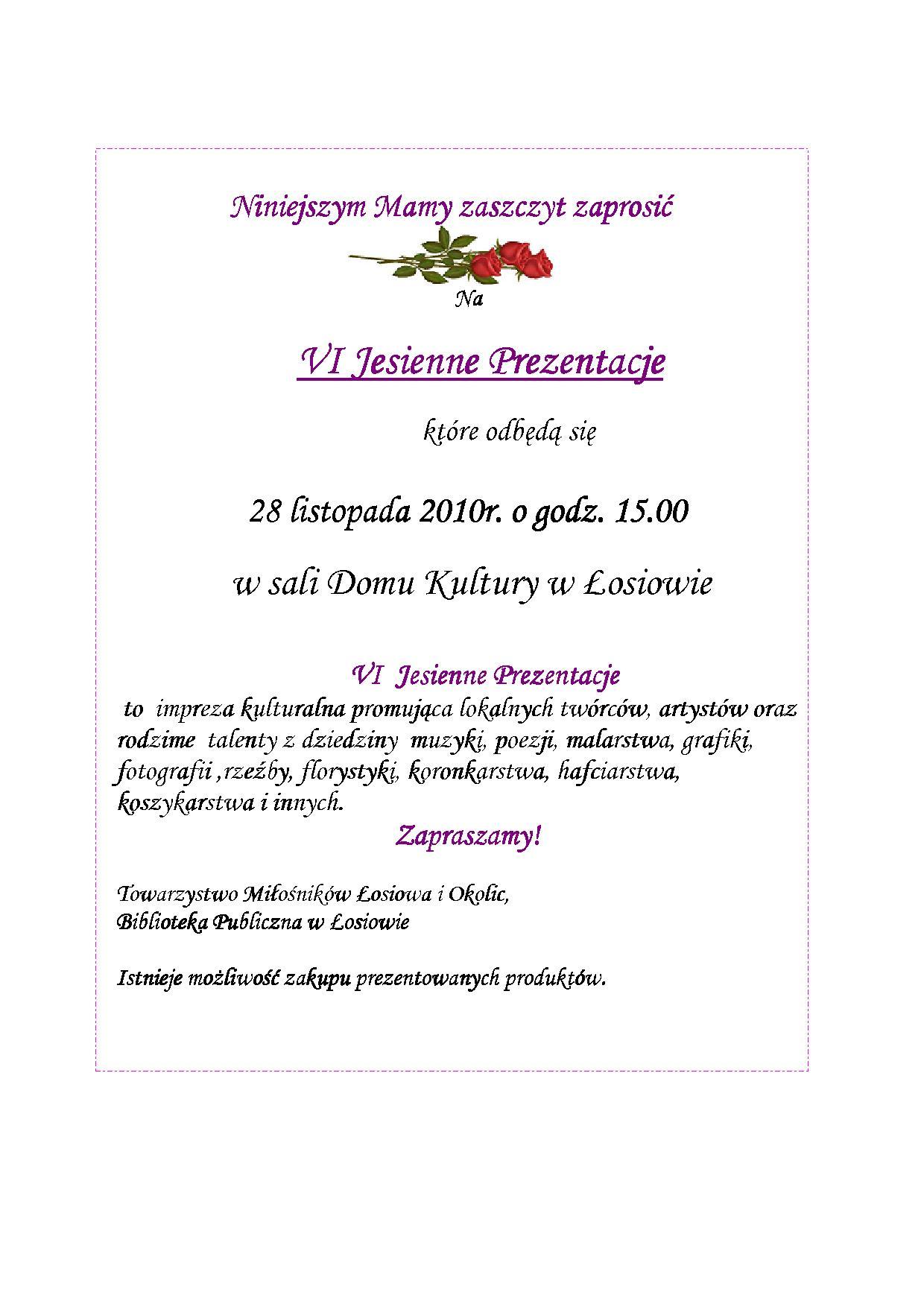 Zaproszenie na VI Jesienne Prezentacje w Łosiowie