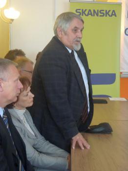 Uroczystość wbicia kamienia węgielnego pod inwestycję Poprawa ochrony przeciwpowodziowej Lewina 4 - Doradca Wojewody Jerzy Dobosz