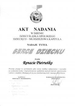Medal dla Pani Renaty Pietruńko