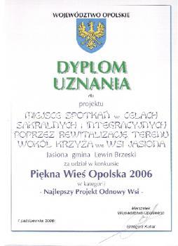 Dyplom uznania od Marszałka Woj. Opolskiego