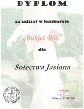 Dyplom z konkursu Bukiet Róż