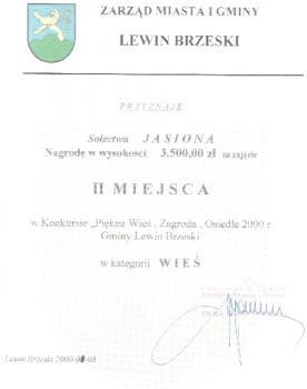 II miejsce w konkursie Piękna Wieś rok 2000