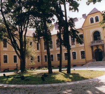Pałac - Gimnazjum w Lewinie Brzeskim widok od strony frontu