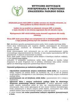 Galeria Wytyczne dotyczące postępowania w przypadku znalezienia padłego dzika