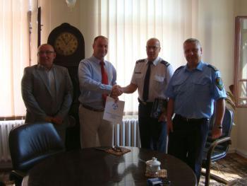 Podpisanie porozumienia pomiędzy Policją a Burmistrzem Lewina Brzeskiego