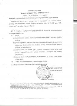 Rozporządzenie w sprawie zarządzenia środków związanych z wystąpieniem grypy ptaków