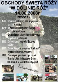 plakat Święto Róży - program imprezy